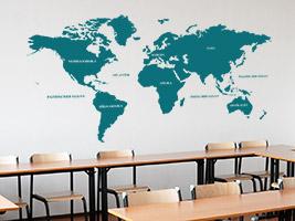 Wandtattoo Weltkarte In Der Schule