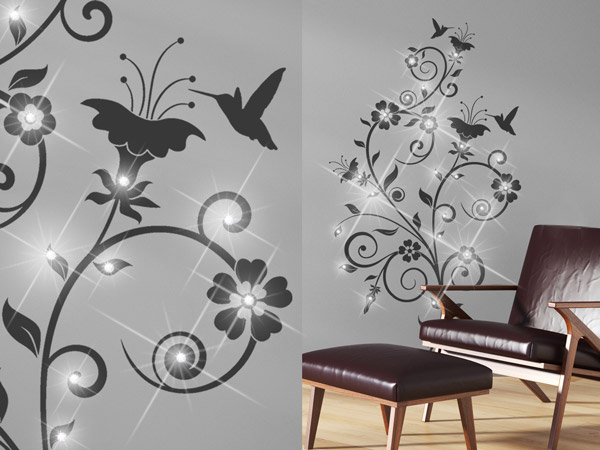 wandtattoo mit schmuckkristallen und strasssteinen dekorieren. Black Bedroom Furniture Sets. Home Design Ideas