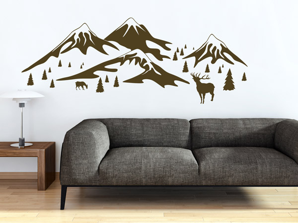 sch ne alpen deko mit wandtattoos hirsche berge und tannen wohntrend. Black Bedroom Furniture Sets. Home Design Ideas