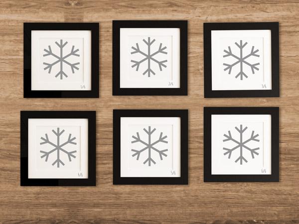 Die Wandtattoo Schneeflocken werden im Bilderrahmen zum Kunstwerk