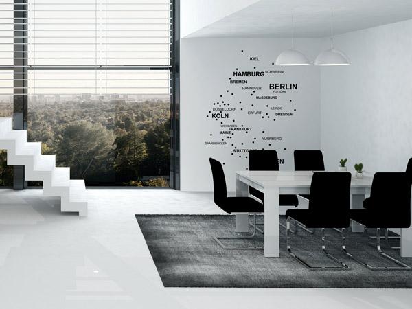 Wandgestaltung Wohnzimmer Schwarz Weiße Möbel