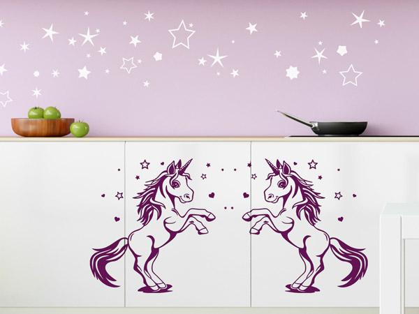 Küche Mit Wandtattoo Einhörnern Beklebt