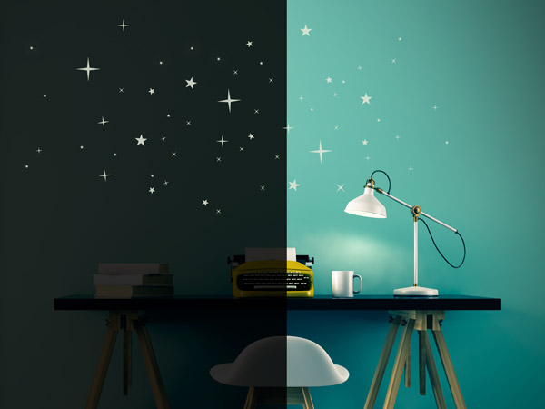 Leuchtsterne leuchtende sterne zum aufkleben - Leuchtende wandtattoos ...