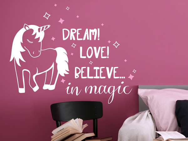 Wandtattoo Einhorn Dream Love Magic