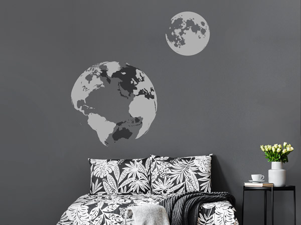 weltall in der wohnung mit weltraum wandtattoos. Black Bedroom Furniture Sets. Home Design Ideas