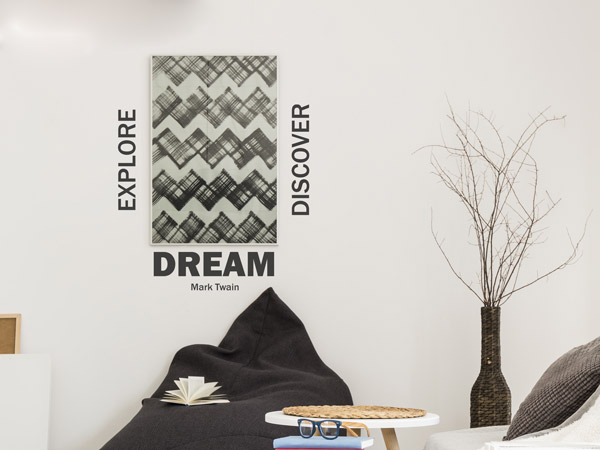 Wandtattoo Explore Dream Discover mit Design Bilderrahmen