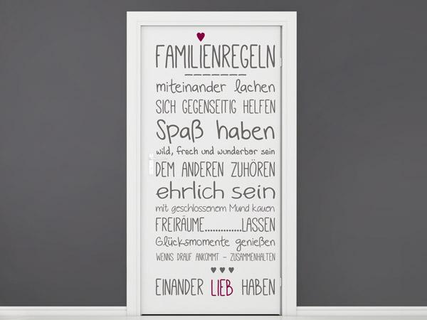 Familienregeln Mit Herz   Einfach Zum Türtattoo Machen. Wandtattoo  Familienregeln ...