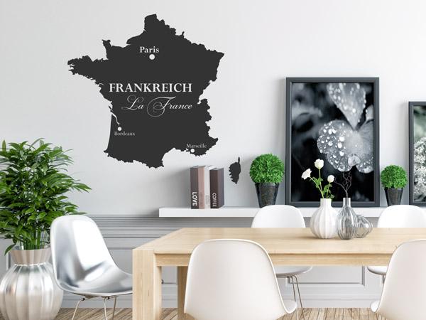 Landkarten als wandtattoos deutschland frankreich for Frankreich dekoration