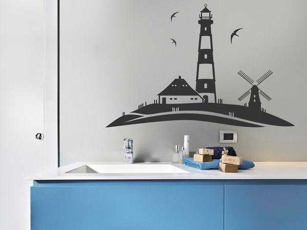 Nordseefeeling Mit Leuchtturm Und Mühle   Wanddeko Fürs Bad