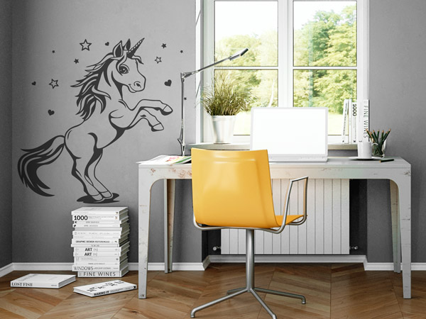 zauberhafte einh rner wandtattoos f r einhornfans. Black Bedroom Furniture Sets. Home Design Ideas