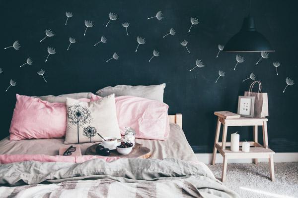 Wandtattoo Pusteblumen Samen Weiss Schlafzimmer