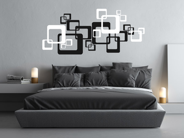 Wandtattoo Retro Cubes Ornament am Kopfende