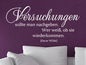 Zitat Oscar Wilde über Versuchungen Als Wandtattoo
