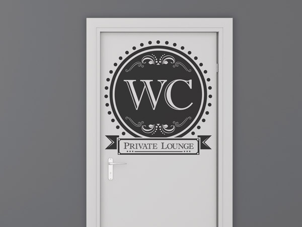 Wandtattoo WC Tür stilvoll Private Lounge Ornament