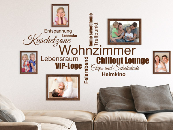 wandtattoos mit bilderrahmen kombiniert neue wandideen. Black Bedroom Furniture Sets. Home Design Ideas