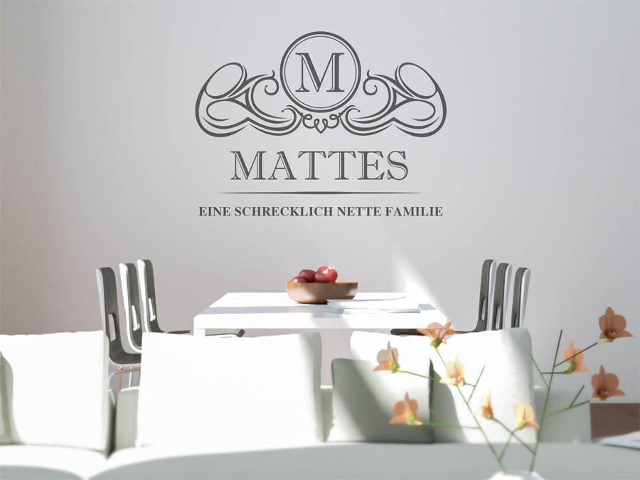 Wohnideen Mattes wandtattoo mattes nachname als monogramm türschild oder
