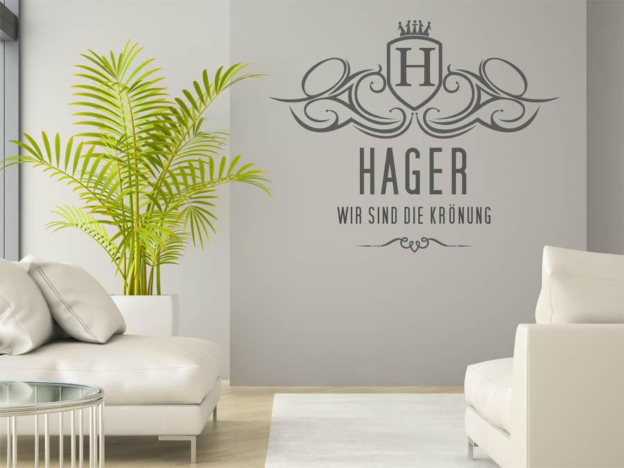 wandtattoo hager als monogramm t rschild oder familienwappen. Black Bedroom Furniture Sets. Home Design Ideas