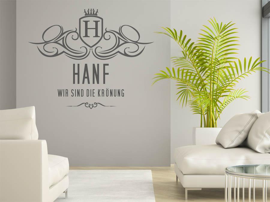 wandtattoo hanf als monogramm t rschild oder familienwappen. Black Bedroom Furniture Sets. Home Design Ideas