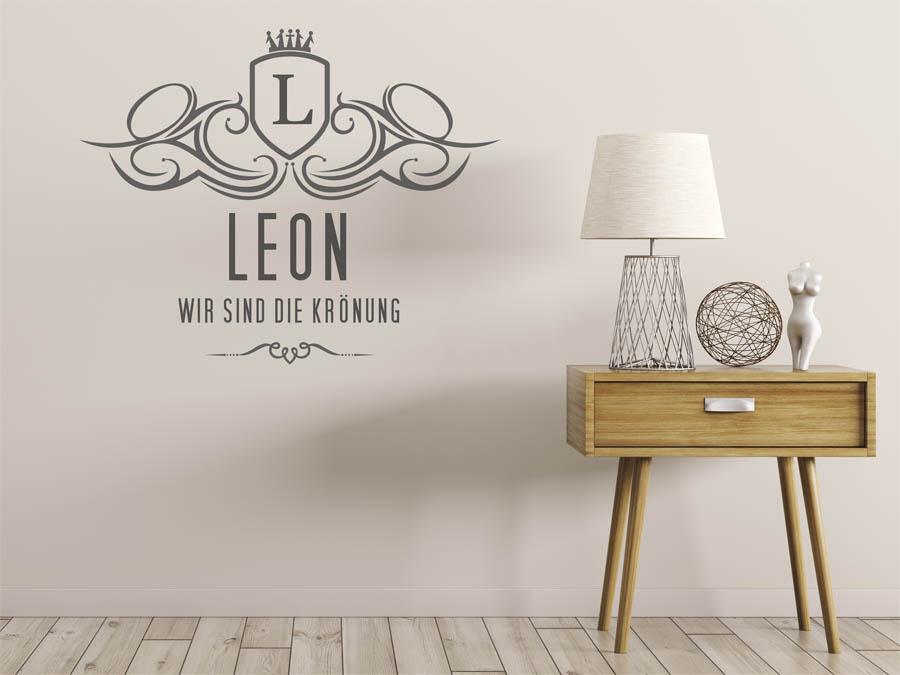 wandtattoo leon als monogramm t rschild oder familienwappen. Black Bedroom Furniture Sets. Home Design Ideas