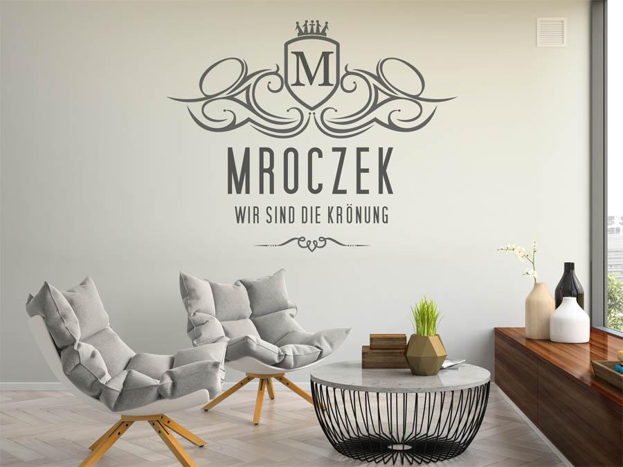 wandtattoo mroczek nachname als monogramm t rschild. Black Bedroom Furniture Sets. Home Design Ideas