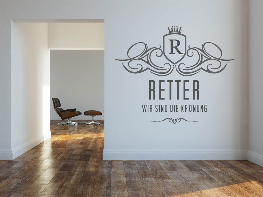 wandtattoo retter als monogramm t rschild oder familienwappen. Black Bedroom Furniture Sets. Home Design Ideas