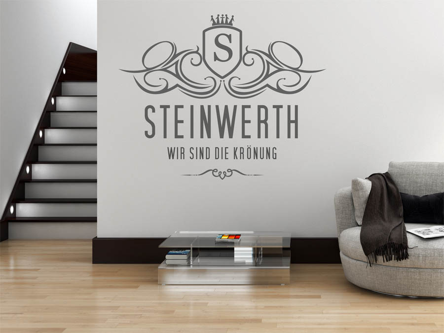 wandtattoo steinwerth als monogramm t rschild oder. Black Bedroom Furniture Sets. Home Design Ideas