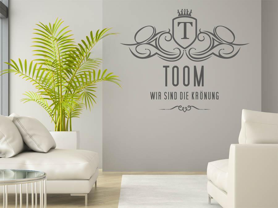 wandtattoo toom als monogramm t rschild oder familienwappen. Black Bedroom Furniture Sets. Home Design Ideas
