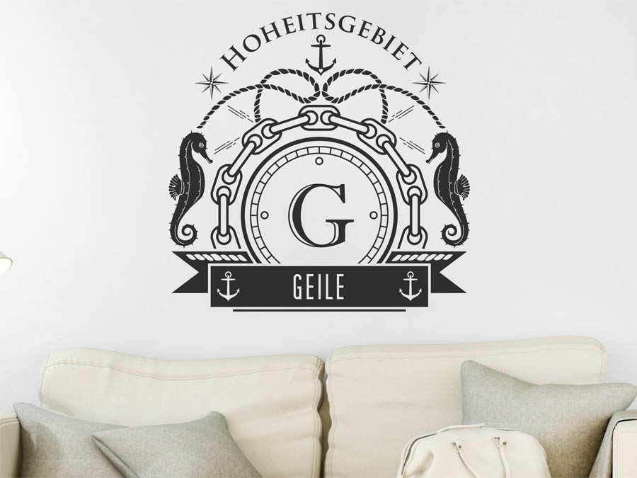 wandtattoo geile als monogramm t rschild oder familienwappen. Black Bedroom Furniture Sets. Home Design Ideas