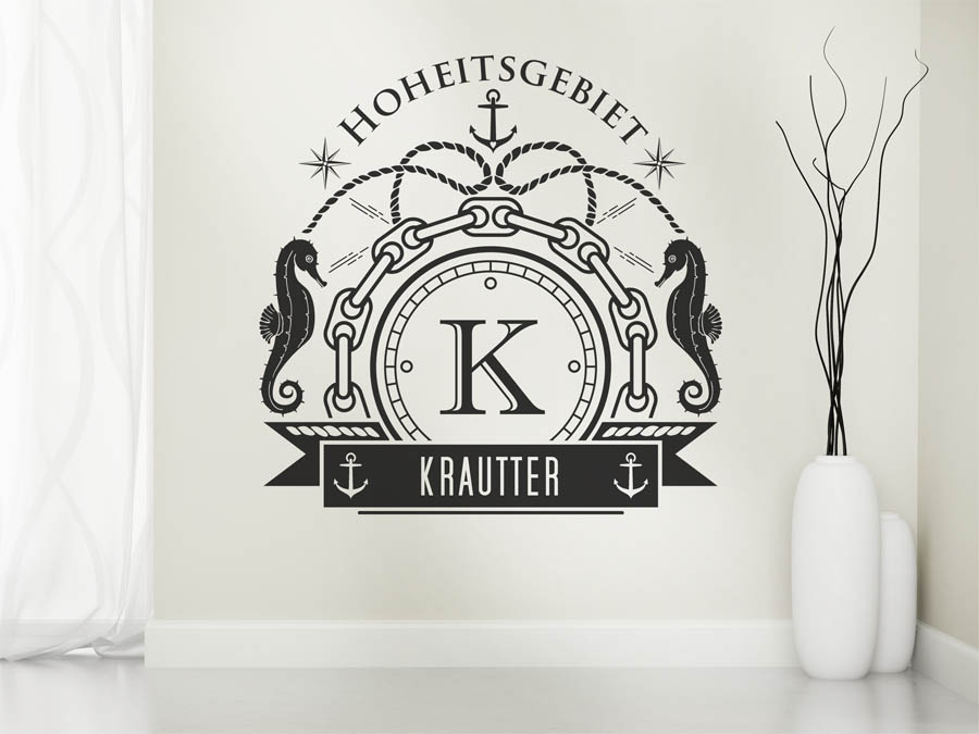 wandtattoo krautter als monogramm t rschild oder familienwappen. Black Bedroom Furniture Sets. Home Design Ideas