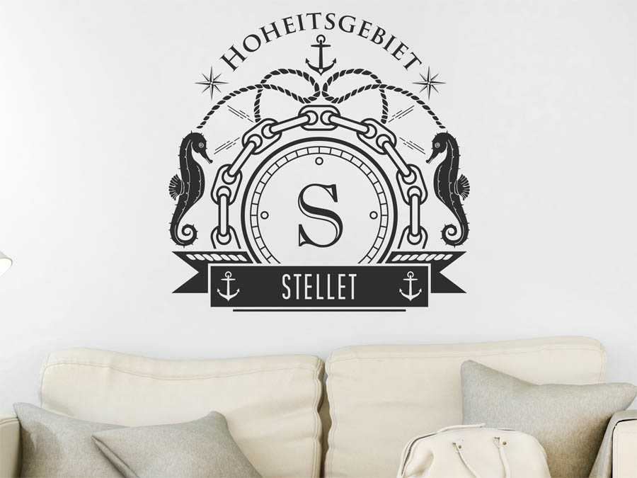 wandtattoo stellet nachname als monogramm t rschild. Black Bedroom Furniture Sets. Home Design Ideas