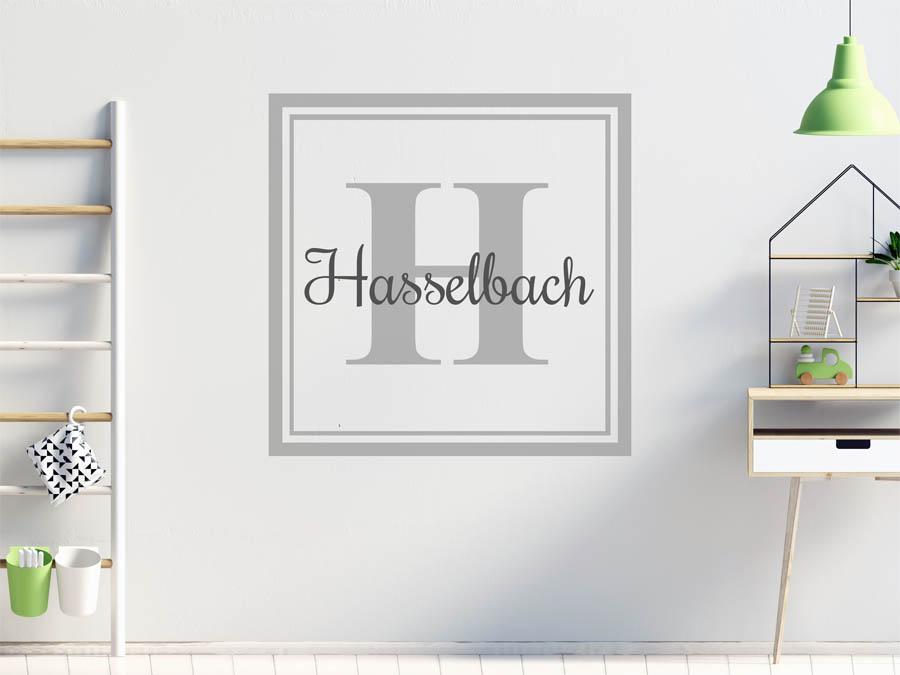 wandtattoo hasselbach als monogramm t rschild oder familienwappen. Black Bedroom Furniture Sets. Home Design Ideas