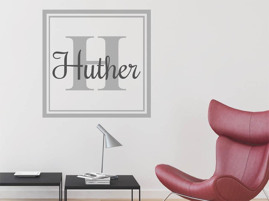 Wohnideen Hueter wandtattoo huther nachname als monogramm türschild oder