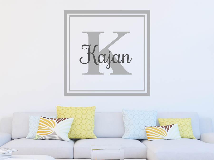 wandtattoo kajan als monogramm t rschild oder familienwappen. Black Bedroom Furniture Sets. Home Design Ideas