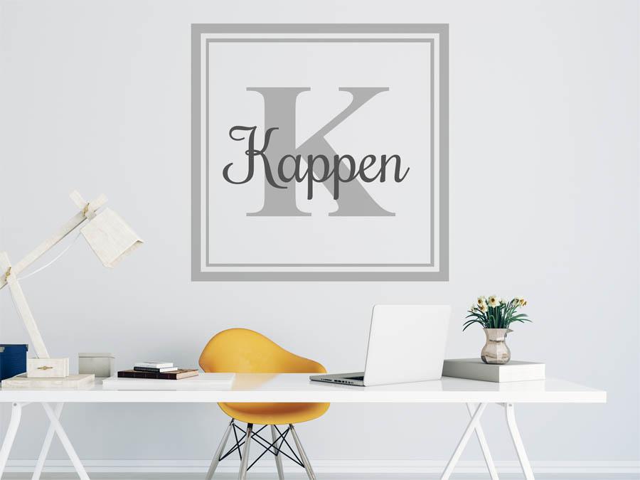 wandtattoo kappen als monogramm t rschild oder familienwappen. Black Bedroom Furniture Sets. Home Design Ideas