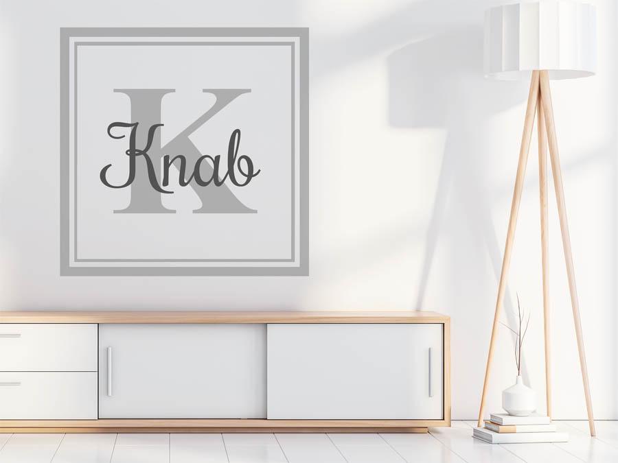 wandtattoo knab als monogramm t rschild oder familienwappen. Black Bedroom Furniture Sets. Home Design Ideas
