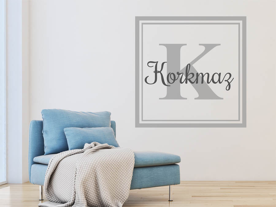 wandtattoo korkmaz als monogramm t rschild oder. Black Bedroom Furniture Sets. Home Design Ideas