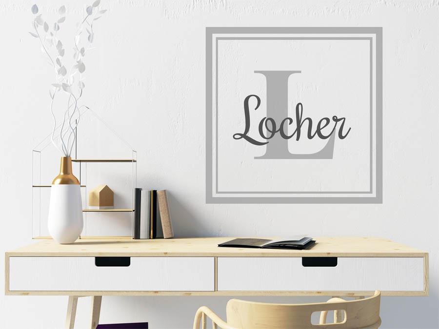 Wandtattoo locher als monogramm t rschild oder familienwappen - Locher in der wand stopfen ...