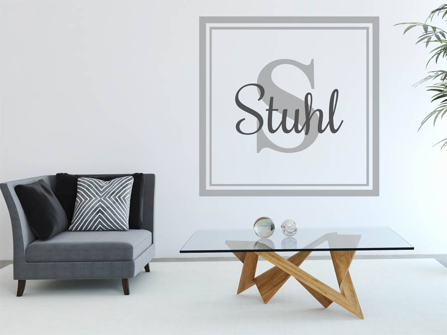 wandtattoo stuhl nachname als monogramm t rschild oder familienwappen. Black Bedroom Furniture Sets. Home Design Ideas