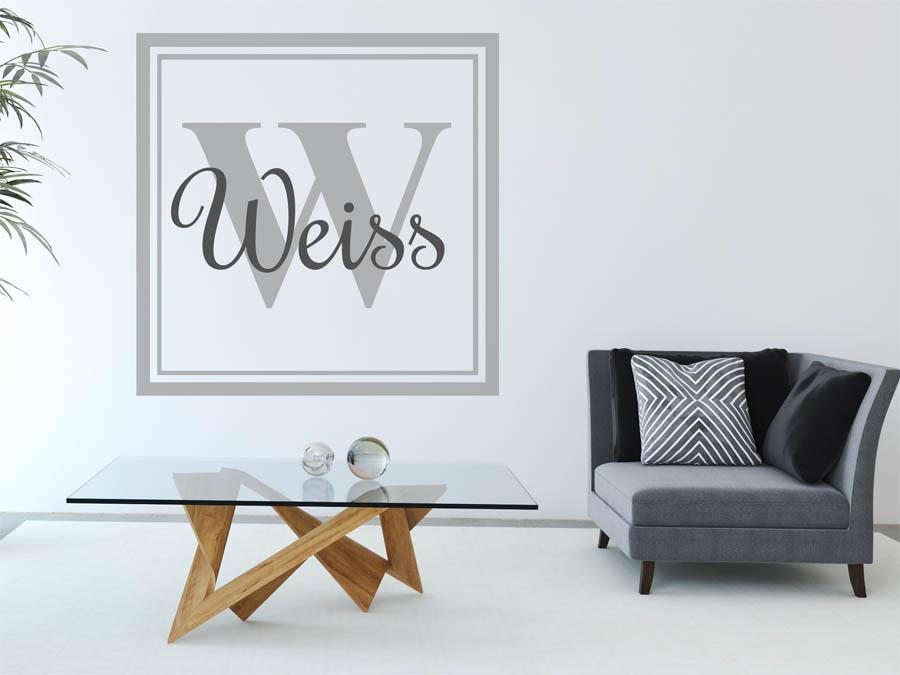 wandtattoo weiss als monogramm t rschild oder familienwappen. Black Bedroom Furniture Sets. Home Design Ideas