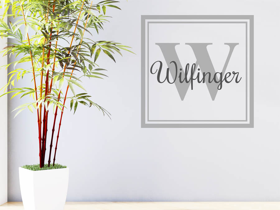 wandtattoo wilfinger als monogramm t rschild oder. Black Bedroom Furniture Sets. Home Design Ideas
