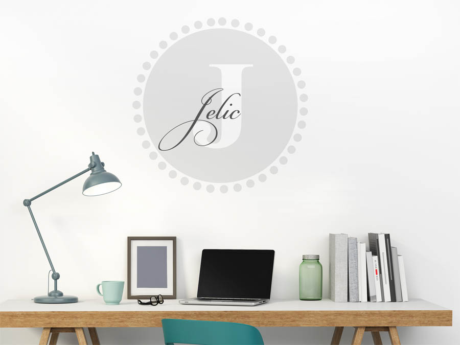 Jelic Familienname als rundes Monogramm