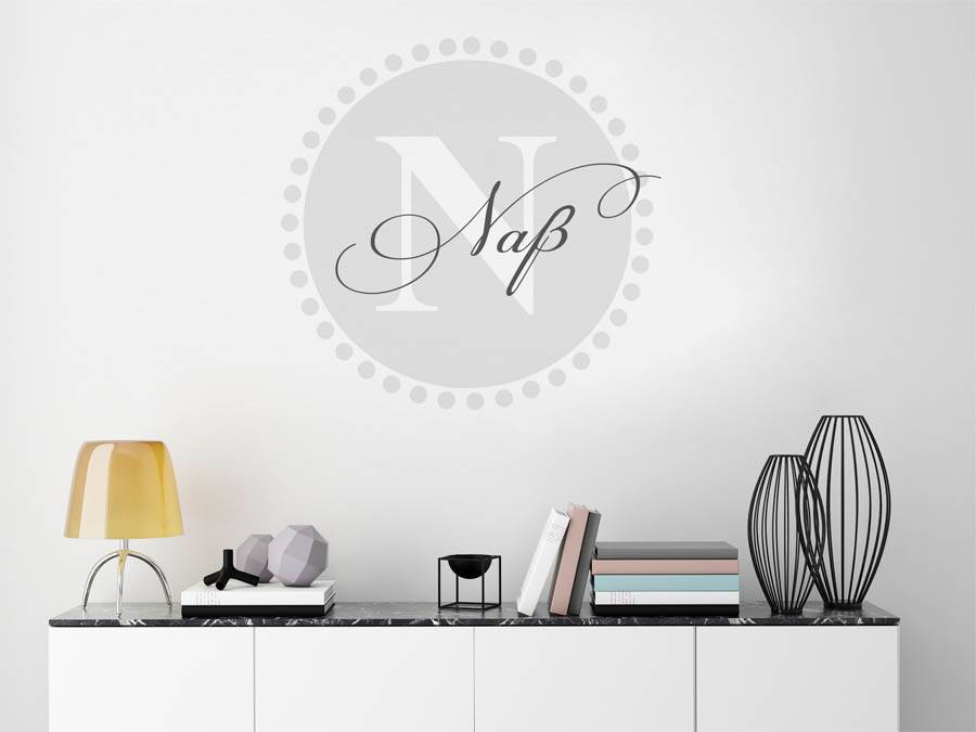 wandtattoo na nachname als monogramm t rschild oder familienwappen. Black Bedroom Furniture Sets. Home Design Ideas