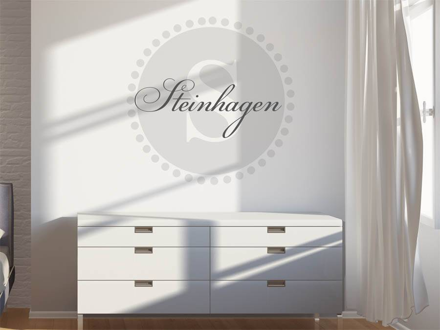wandtattoo steinhagen nachname als monogramm t rschild oder familienwappen. Black Bedroom Furniture Sets. Home Design Ideas