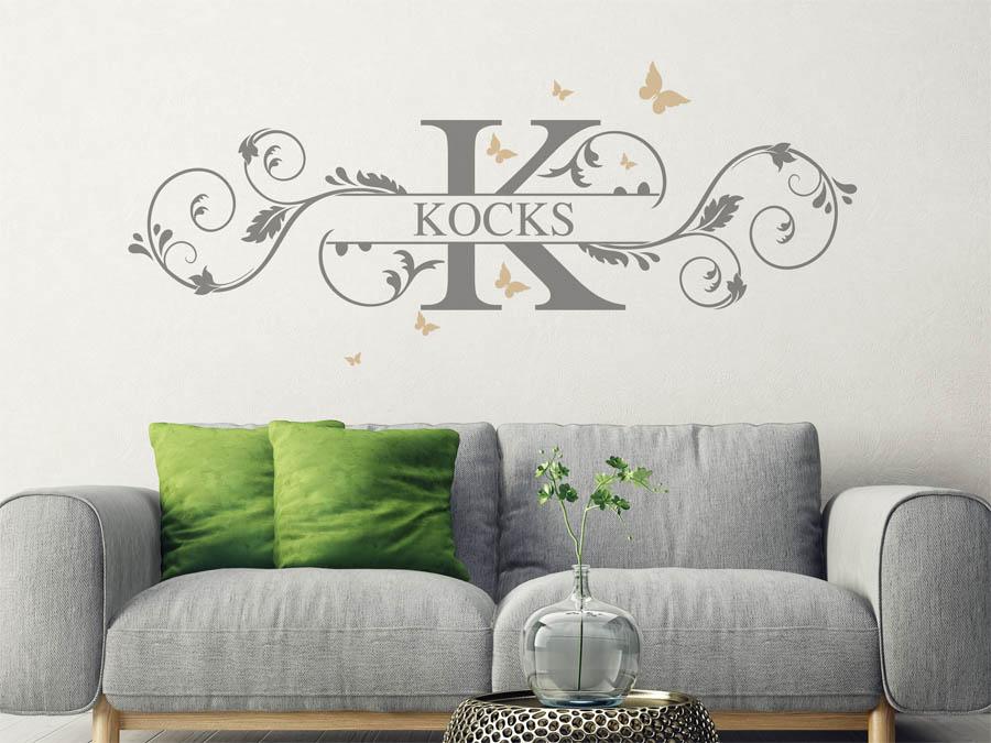 wandtattoo kocks als monogramm t rschild oder familienwappen. Black Bedroom Furniture Sets. Home Design Ideas