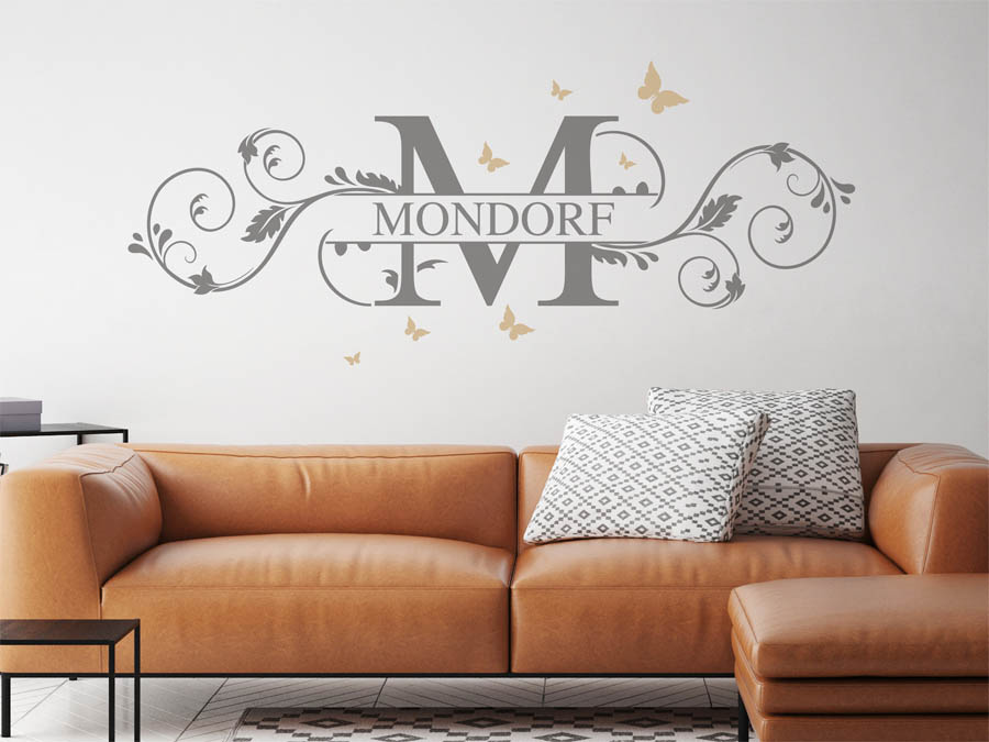 wandtattoo mondorf als monogramm t rschild oder. Black Bedroom Furniture Sets. Home Design Ideas