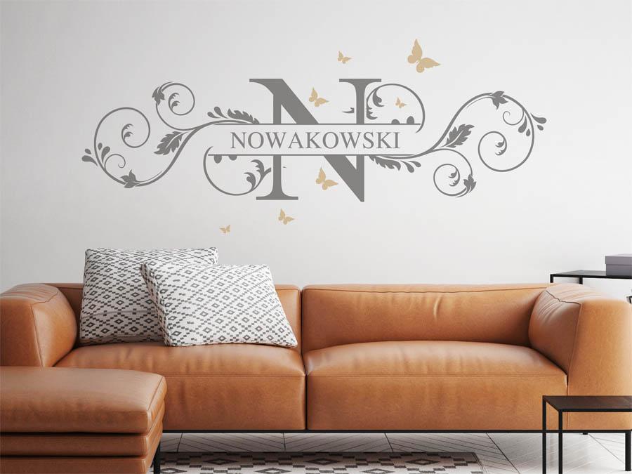 wandtattoo nowakowski als monogramm t rschild oder. Black Bedroom Furniture Sets. Home Design Ideas