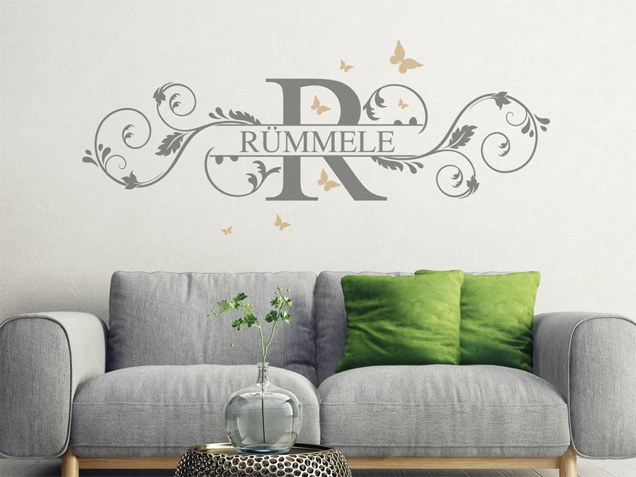 wandtattoo r mmele nachname als monogramm t rschild. Black Bedroom Furniture Sets. Home Design Ideas