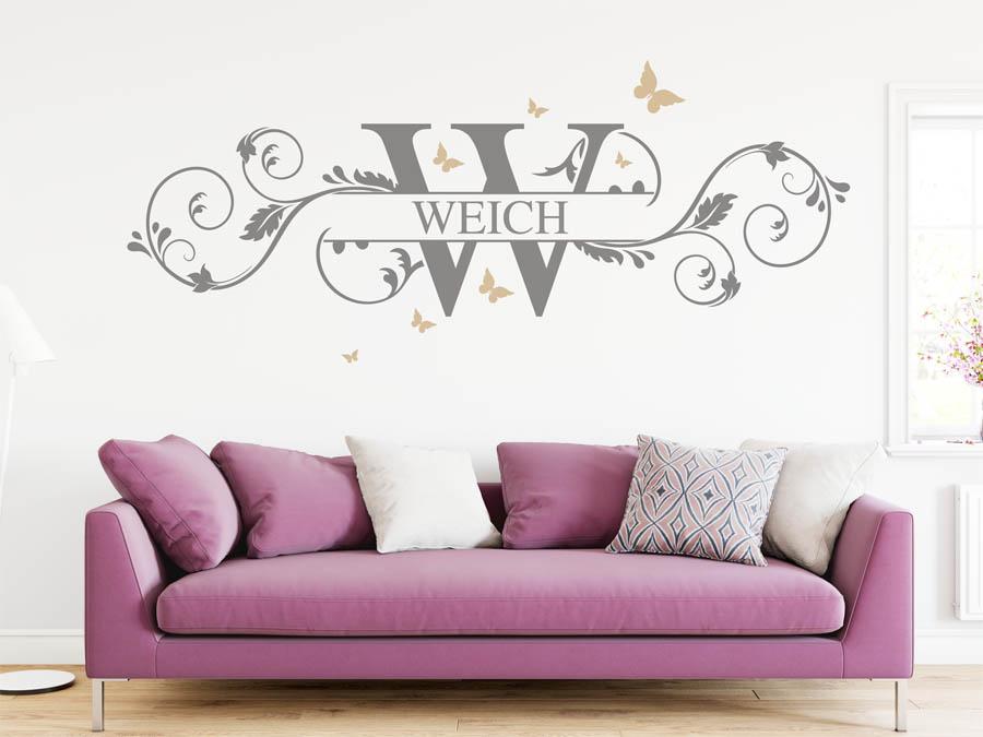 wandtattoo weich nachname als monogramm t rschild oder. Black Bedroom Furniture Sets. Home Design Ideas