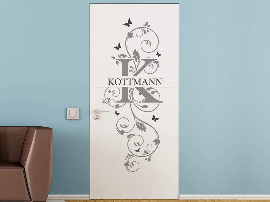 wandtattoo kottmann als monogramm t rschild oder. Black Bedroom Furniture Sets. Home Design Ideas