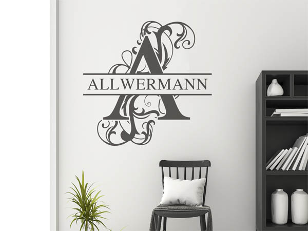 wandtattoo allwermann als monogramm t rschild oder familienwappen. Black Bedroom Furniture Sets. Home Design Ideas